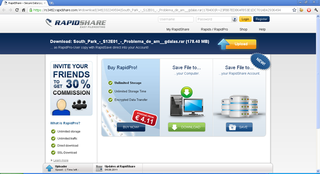 Como descargar de Rapidshare, version 2011