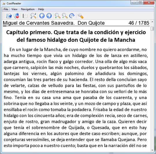 Programa para leer libro en formato EPUB CoolReader 3.0.51-2