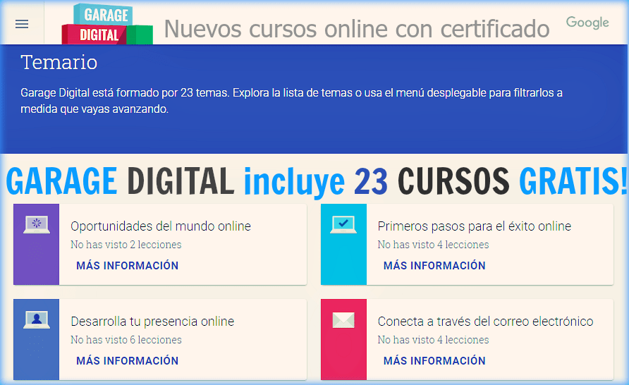 23 Cursos virtuales gratuitos que ofrece Google a través de Garage Digital