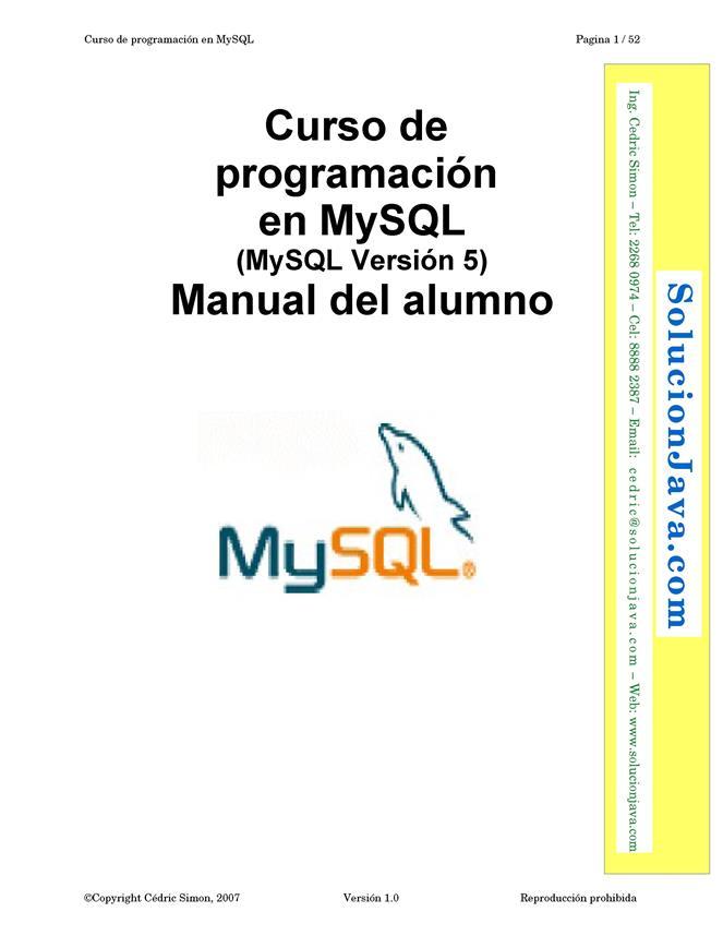 Curso de programación en MySQL – Manual del alumno